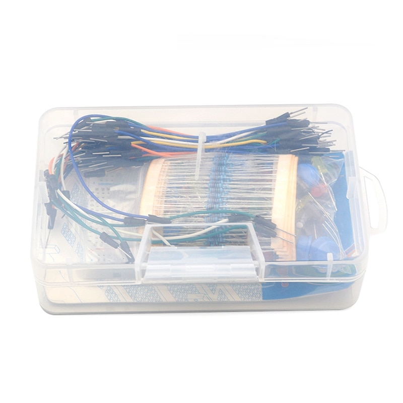 Portable Kit For Uno R3 Resistor Led Diode Capacitor Jumper Wires Breadboard Handy Starter Kit Computer & Office Plastic Retail Box