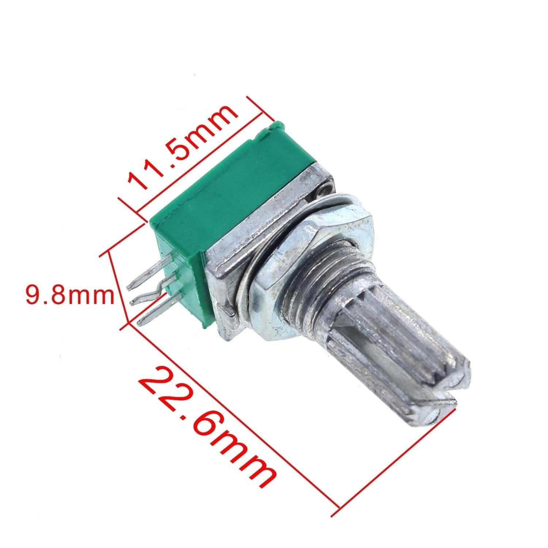 1pc B5K B10K B20K B50K B100K B500K Audio Amplifier Sealed Potentiometer 15mm Shaft 3pins RK097N