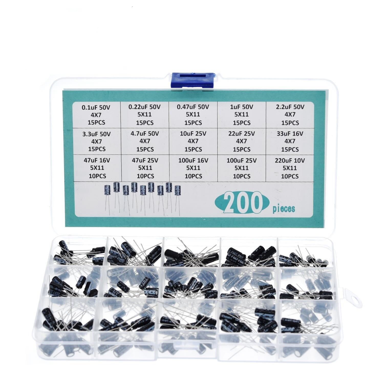 200pcs/lot Radial capacitors set 15Values 0.1uF-220uF Electrolytic Capacitor Assortment Kit 10V/16V/25V/50V capacitor pack