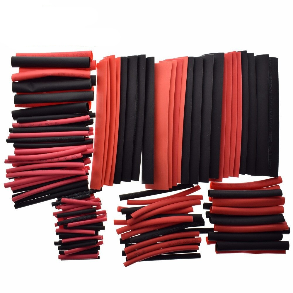 1set 150PCS 7.28m Black And Red 2:1 Assortment Heat Shrink Tubing Tube Car Cable Sleeving Wrap Wire Kit