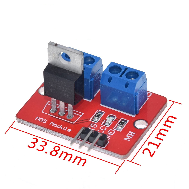 0-24V Top Mosfet Button IRF520 MOS Driver Module For Arduino MCU ARM Raspberry pi