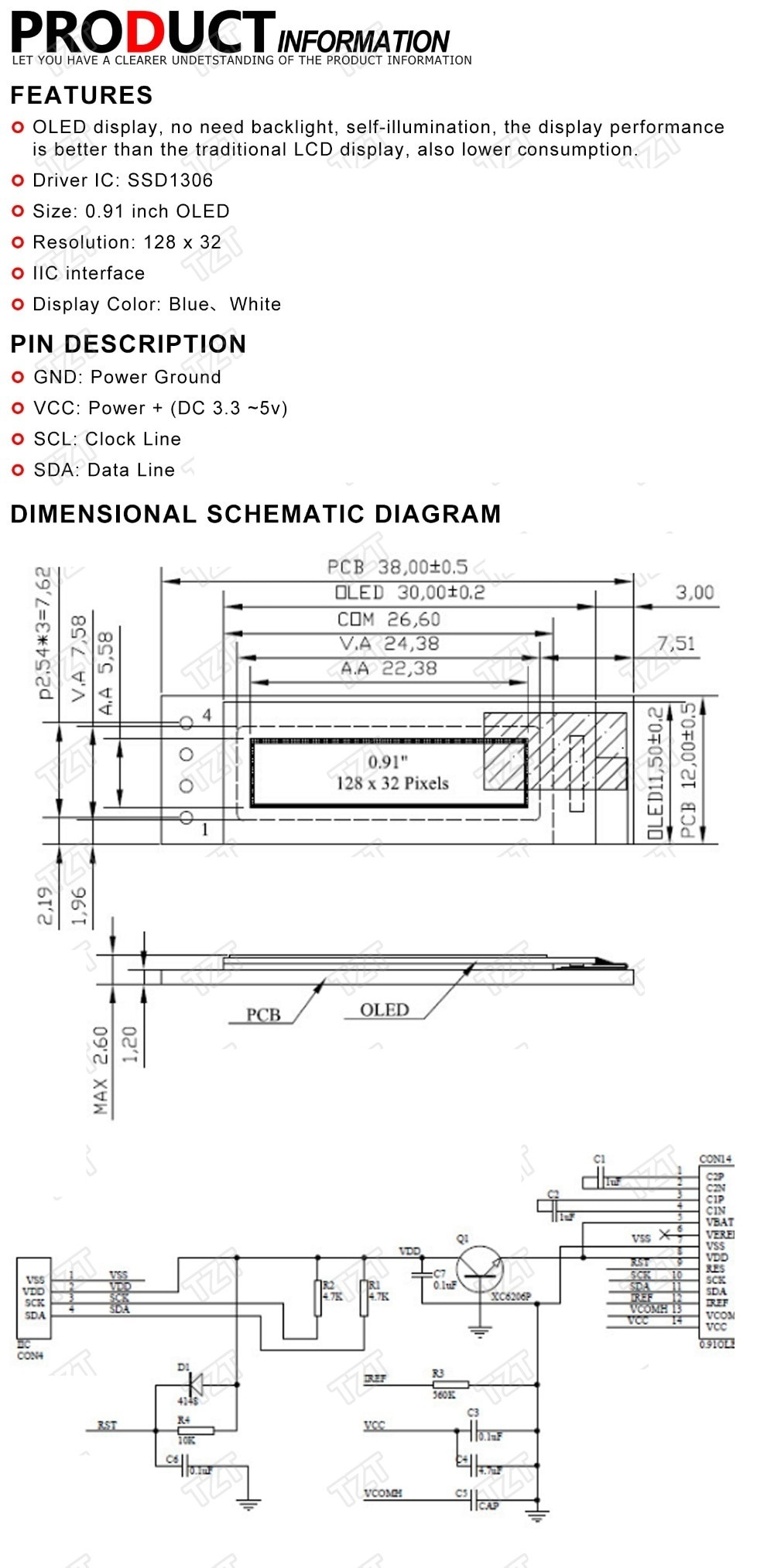 """0.91 inch OLED module 0.91"""" white/blue OLED 128X32 OLED LCD LED Display Module 0.91"""" IIC Communicate for ardunio"""