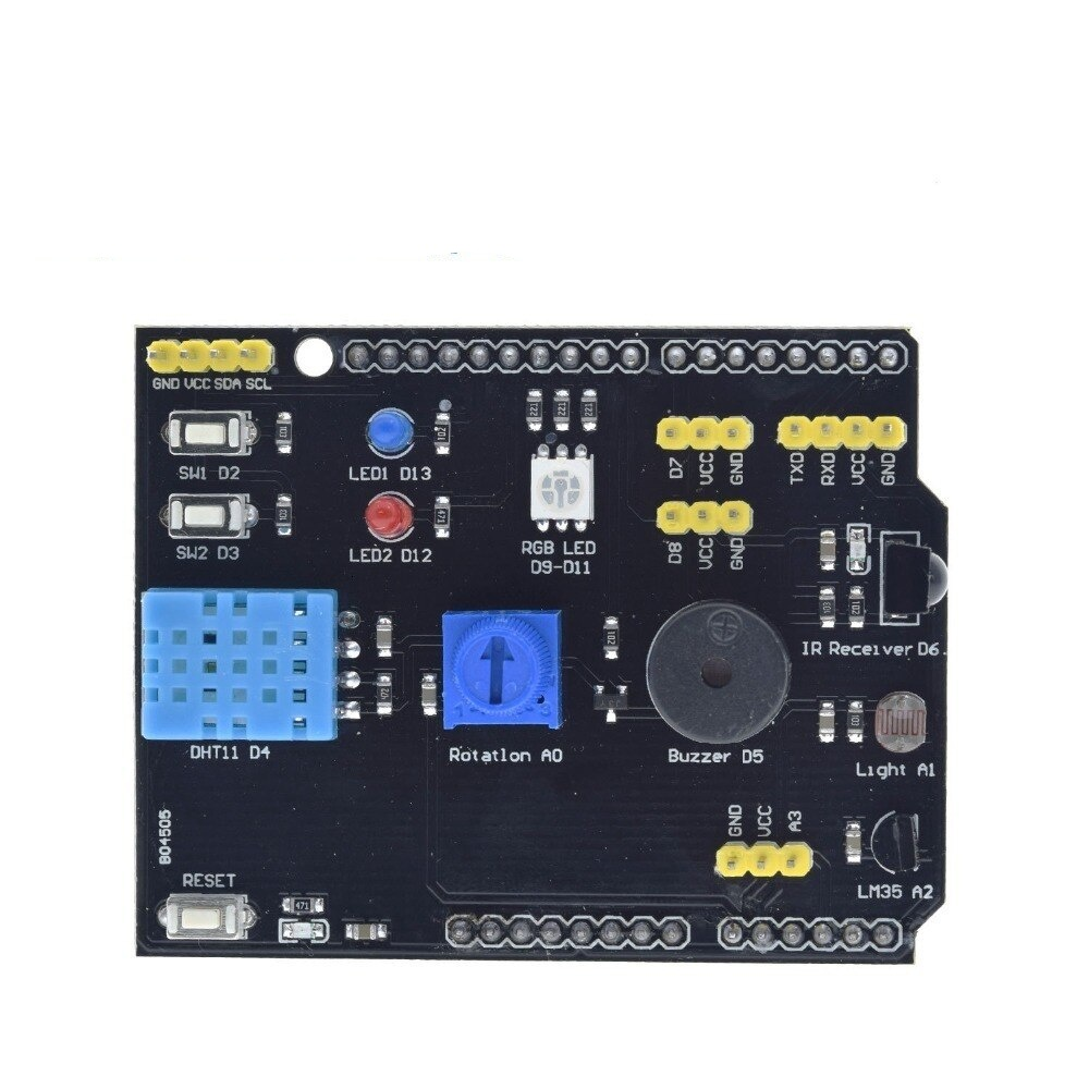 DHT11 LM35 Temperature Humidity Sensor Multifunction Expansion Board Adapter For Arduino UNO R3 RGB LED IR Receiver Buzzer I2C