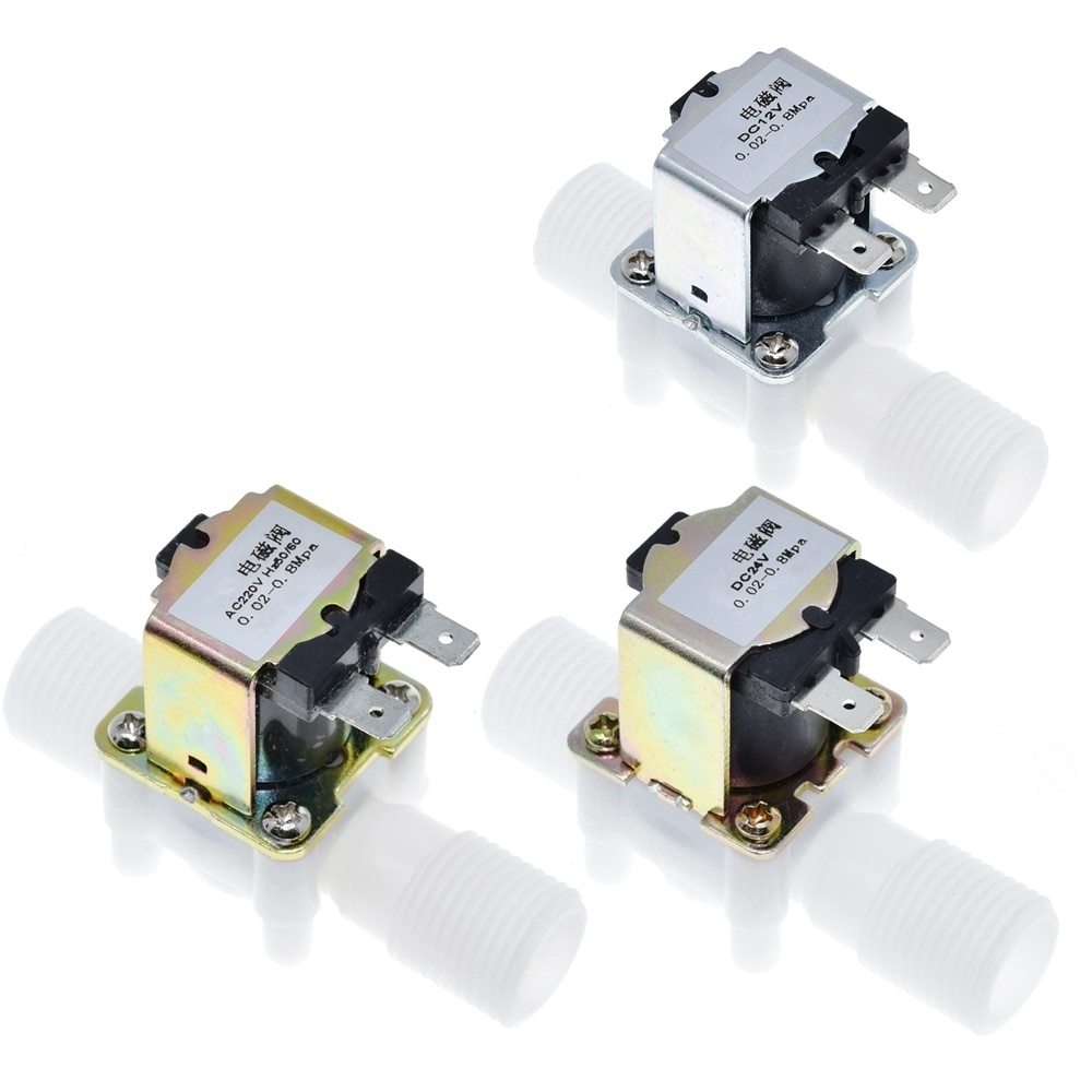 "1/2"" Plastic Solenoid Valve 12V 24V 220V Magnetic Washing Machine Dispenser Drinking Water Pneumatic Pressure Controller Switch"