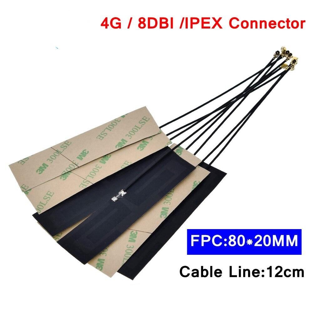 GSM GPRS 2G 3G 4G LTE internal antenna 8dbi FPC connector 80*22mm wireless modem aerial 8cm Long IPEX connector