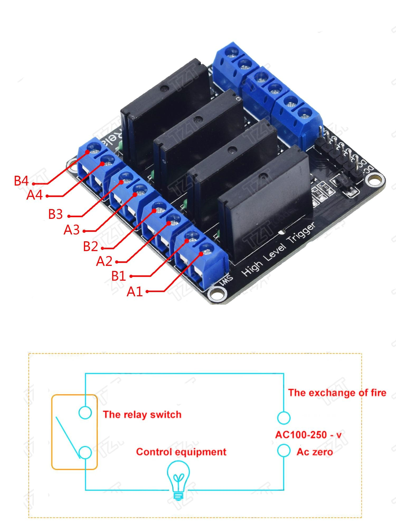 5V Relay 1 2 4 8 Channel OMRON SSR High Low Level Solid State Relay Module 250V 2A For Arduino