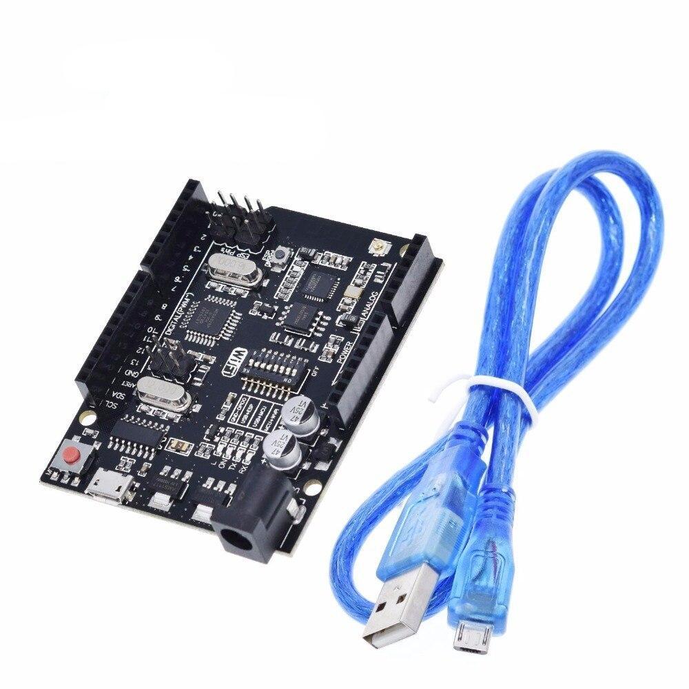 UNO+WiFi R3 ATmega328P+ESP8266 (32Mb memory) USB-TTL CH340G For Arduino Uno, NodeMCU, WeMos ESP8266 One New Arrival