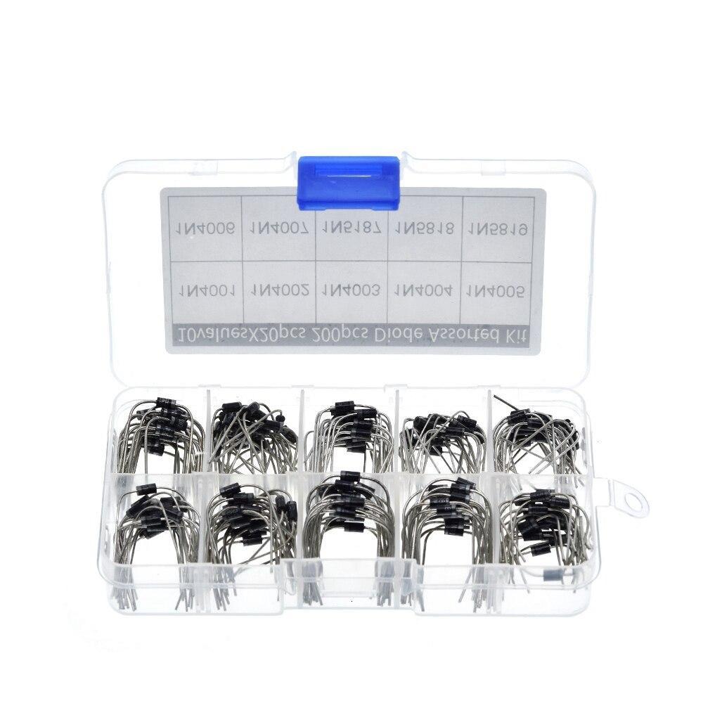 200Pcs 10 Values Rectifier Diode Assorted Kit 1N4001 1N4002 1N4003 1N4004 1N4005 1N4006 1N4007 1N5817 1N5818 1N5819 + Box